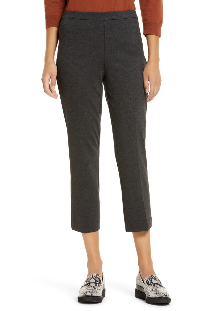 HALOGEN<SUP>®</SUP> Kick Flare Ponte Knit Crop Pants, Main, color, HEATHER CHARCOAL