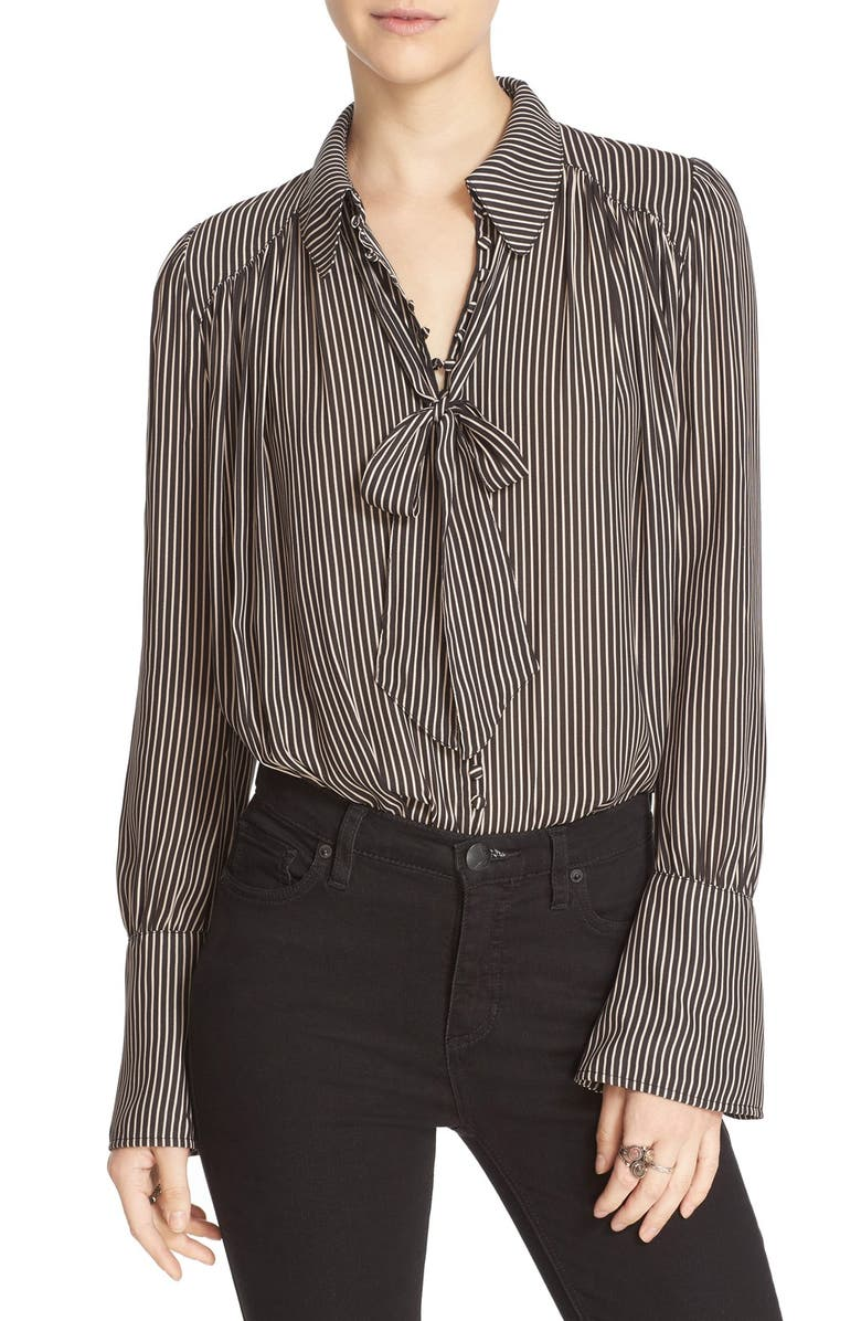 FREE PEOPLE 'Modern Muse' Tie Neck Long Sleeve Blouse, Main, color, 001
