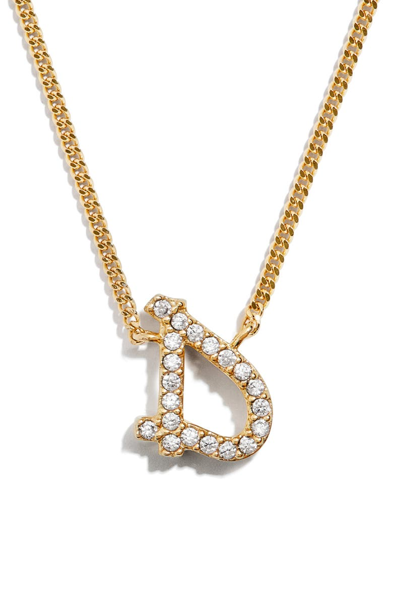 BAUBLEBAR Crystal Graffiti Initial Pendant Necklace, Main, color, GOLD D