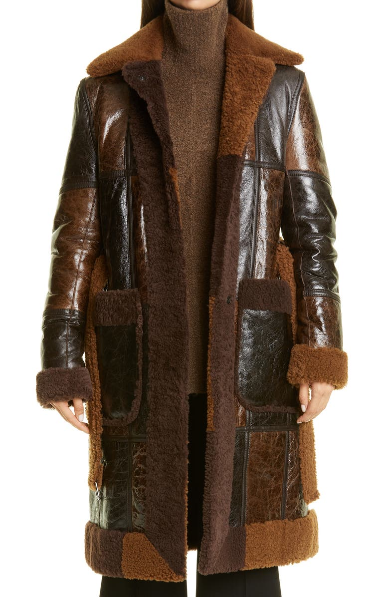 PETER DO Colorblock Reversible Genuine Shearling Coat, Main, color, CAMEL/DARK BROWN