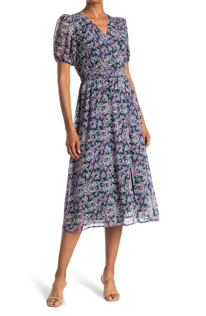 COLLECTIVE CONCEPTS Floral Puff Sleeve Smocked Waist Midi Dress, Main, color, FLORAL MULTI