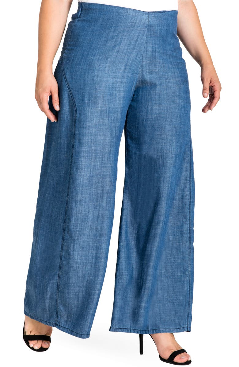 STANDARDS & PRACTICES Perry Tencel<sup>®</sup> Denim Palazzo Pants, Main, color, 459