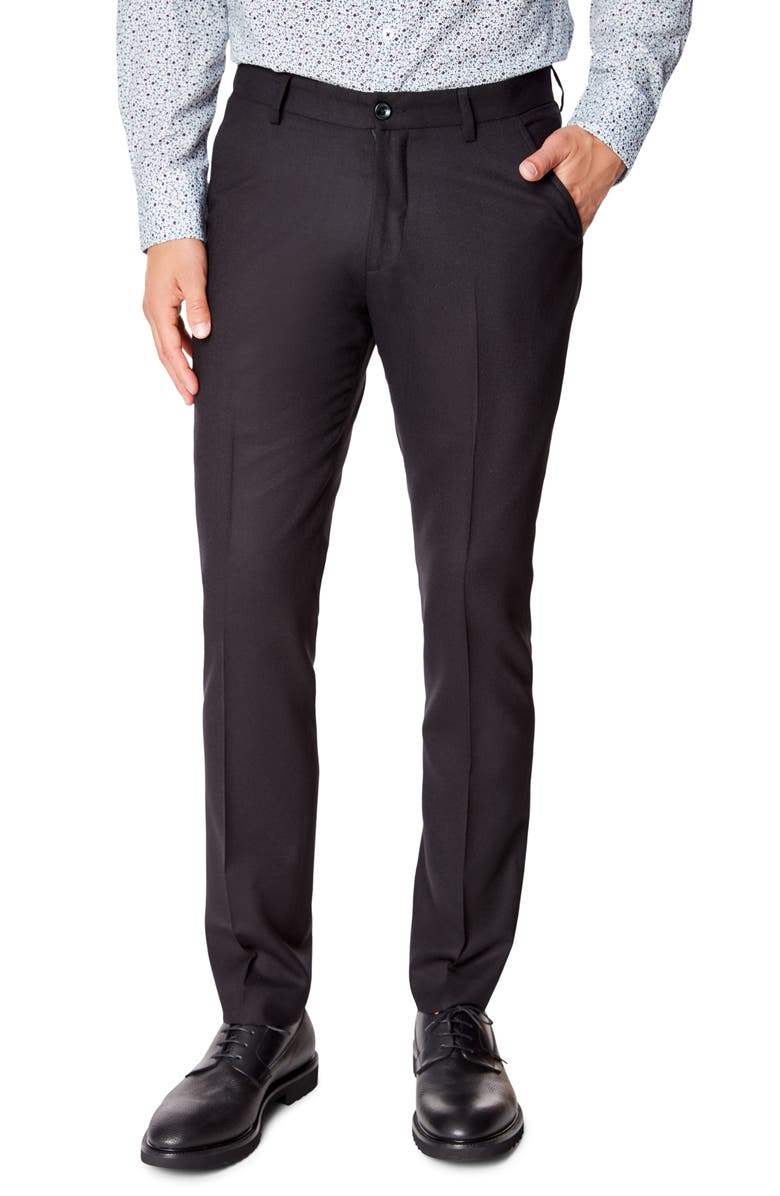 GOOD MAN BRAND Flat Front Solid Wool Dress Pants, Main, color, 001