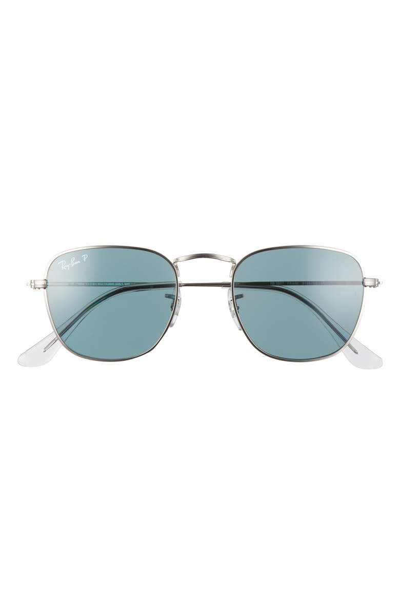 RAY-BAN Frank 48mm Polarized Square Sunglasses, Main, color, SILVER/ BLUE