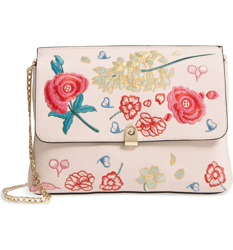 TOPSHOP Floral Embroidered Faux Leather Crossbody Bag, Main, color, IVORY MULTI