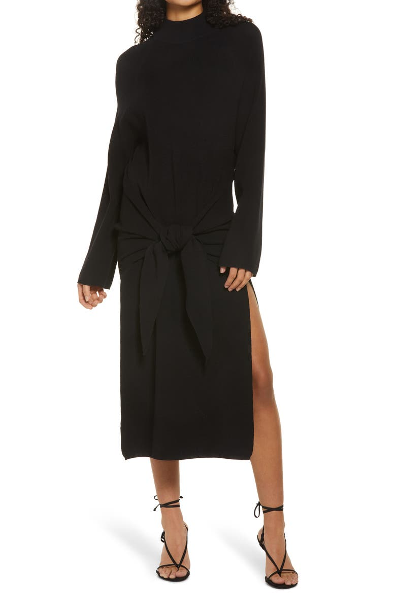 SNDYS Tied Up Ribbed Long Sleeve Midi Sweater Dress, Main, color, BLACK