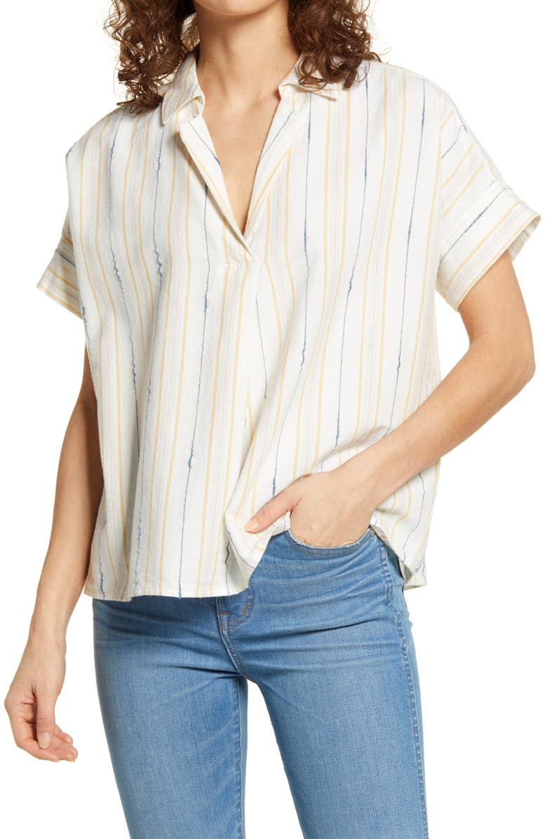 MADEWELL Park Textured Stripe Popover Shirt, Main, color, 400