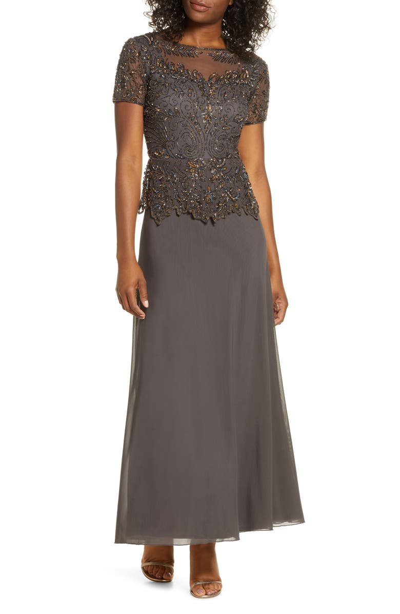 PISARRO NIGHTS Embellished Mesh Bodice Evening Gown, Main, color, ASH