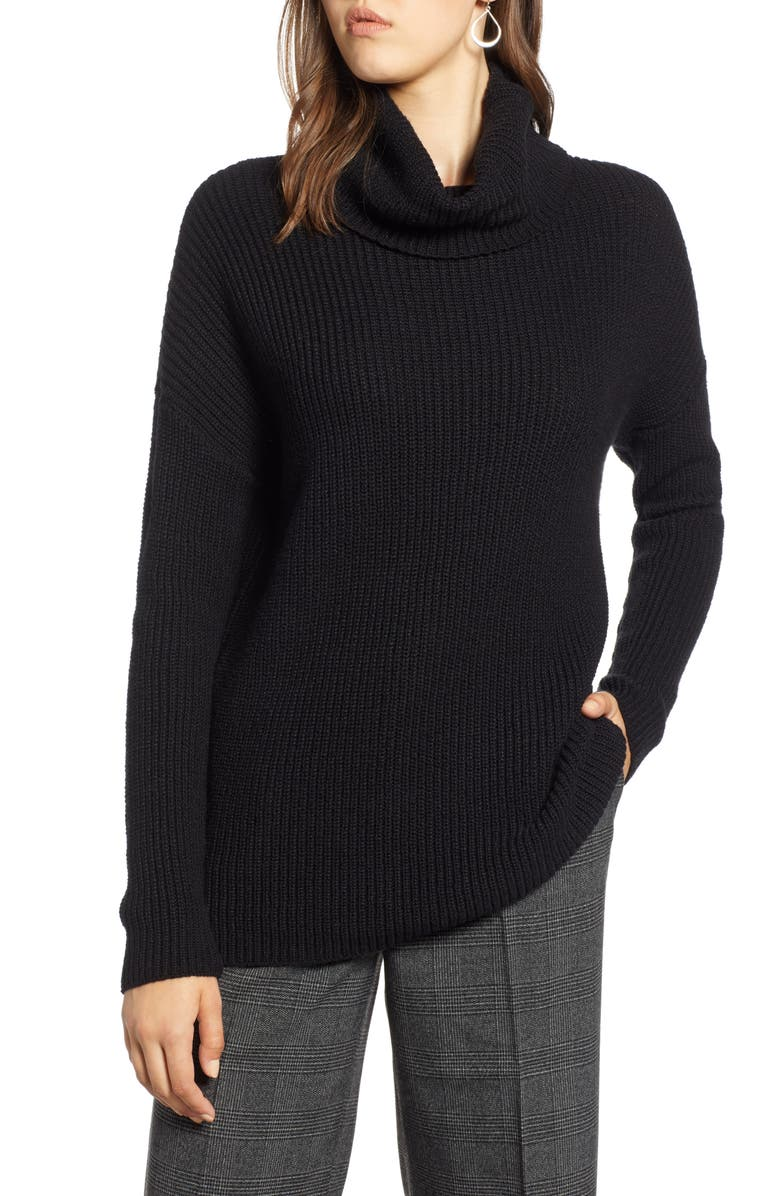 HALOGEN<SUP>®</SUP> Oversized Turtleneck Tunic Sweater, Main, color, 001