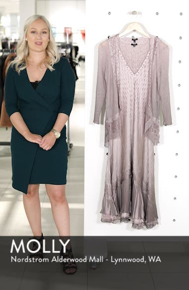 Lace Inset Charmeuse Dress with Jacket, sales video thumbnail