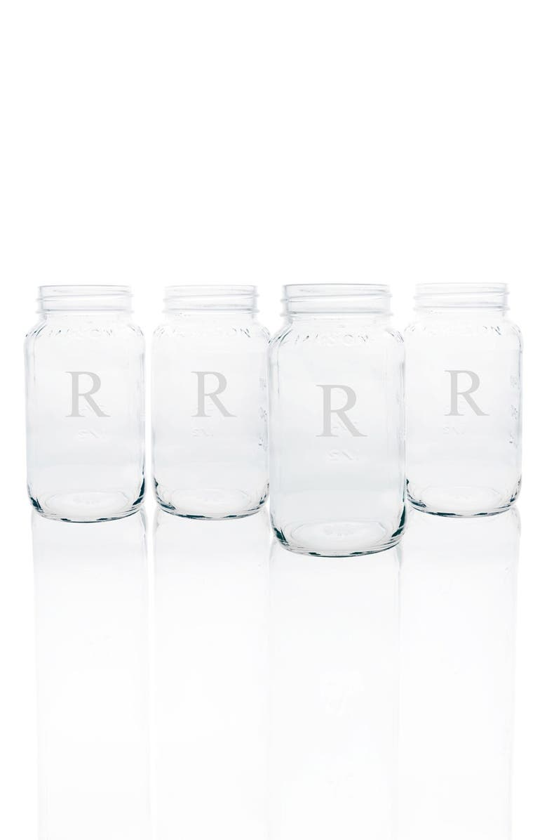 CATHY'S CONCEPTS Monogram Glass Mason Jars, Main, color, CLEAR-R
