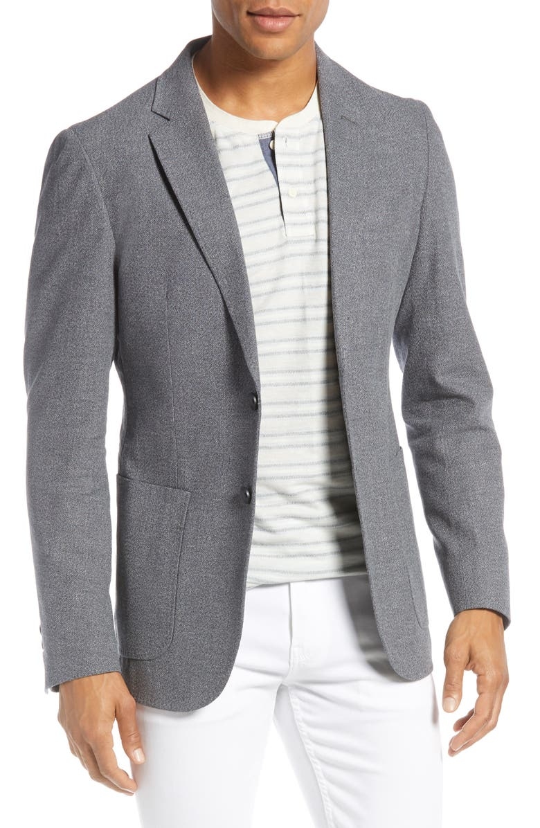 1901 Extra Slim Fit Mélange Cotton & Linen Sport Coat, Main, color, 001