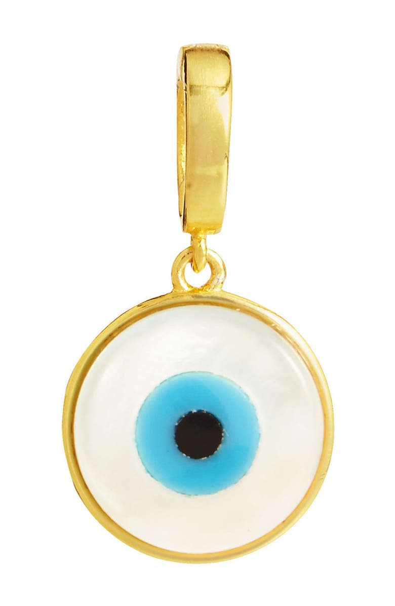 SAVVY CIE JEWELS 18K Yellow Gold Vermeil Mother of Pearl Evil Eye Charm, Main, color, YELLOW