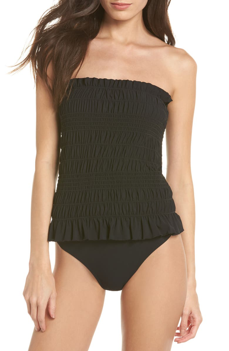 TORY BURCH Costa Smocked One-Piece Swimsuit, Main, color, BLACK / BLACK