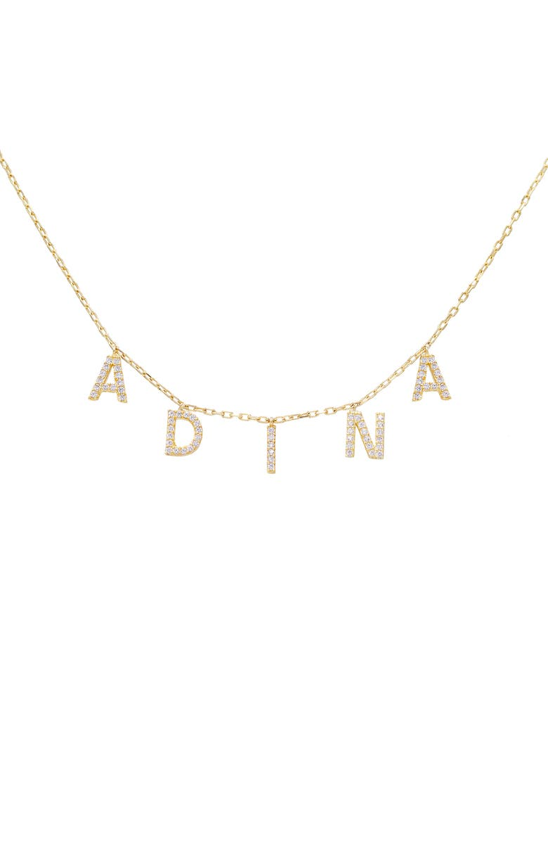ADINA'S JEWELS Personalized Pavé Block Name Shaker Necklace, Main, color, Gold