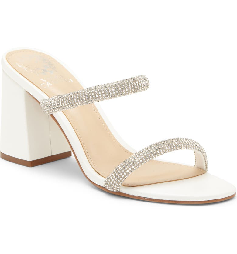 VINCE CAMUTO Magaly Crystal Embellished Slide Sandal, Main, color, VINTAGE WHITE