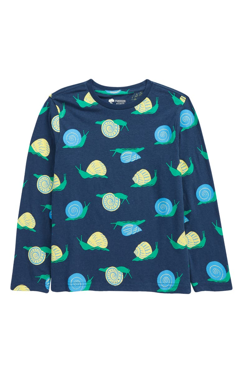 TUCKER + TATE Kids' Allover Print Graphic Tee, Main, color, NAVY PEACOAT SNAILS