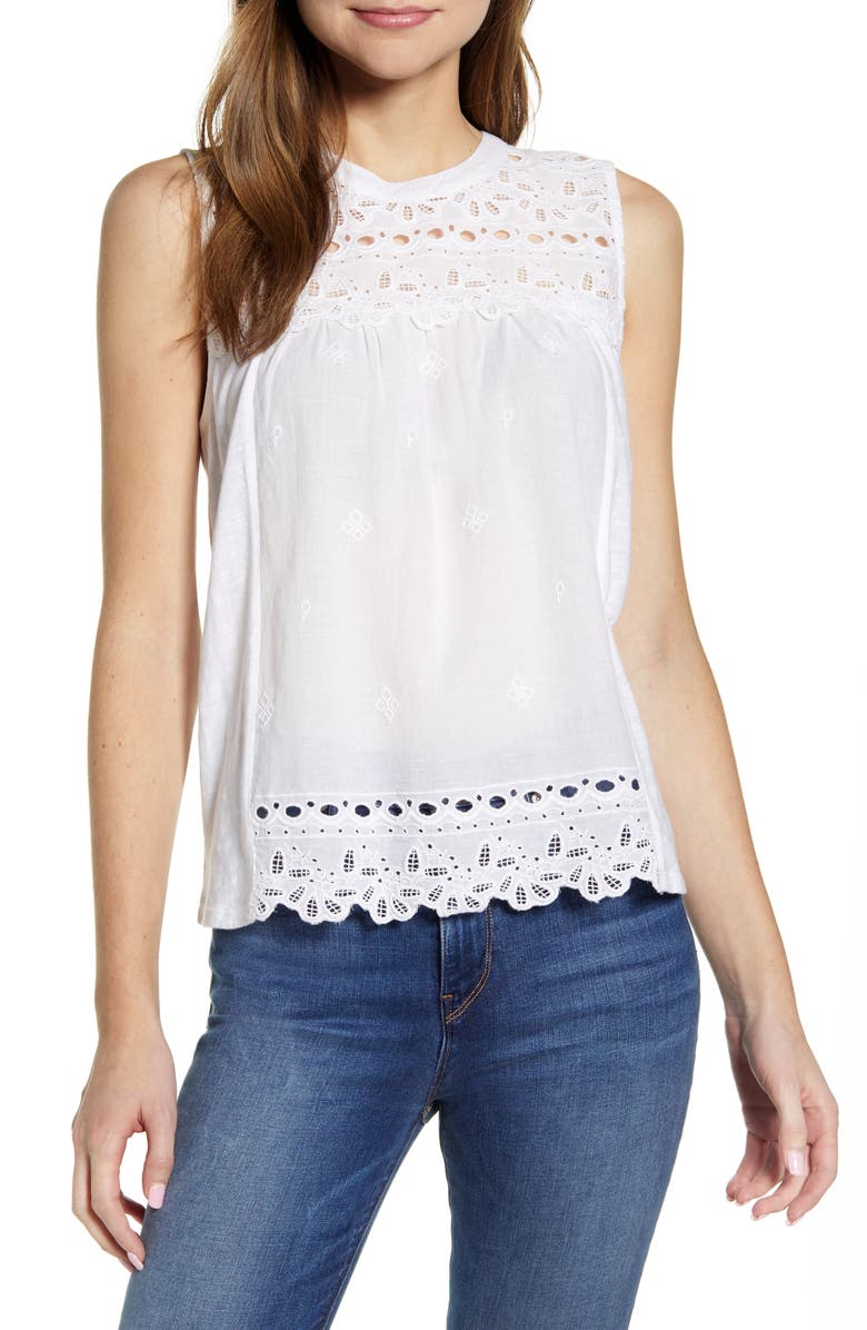 LUCKY BRAND Shiffly Cotton Eyelet Shell, Main, color, 144