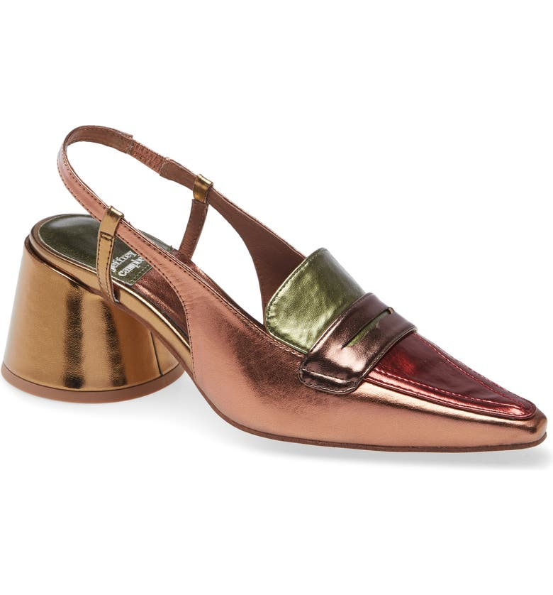 JEFFREY CAMPBELL Ferway Slingback Loafer Pump, Main, color, BRONZE METALLIC MULTI