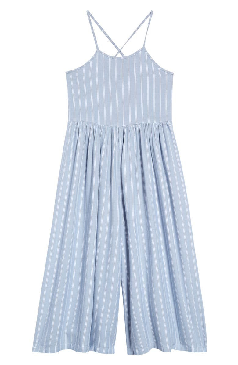 NORDSTROM Kids' Easy Sleeveless Jumpsuit, Main, color, BLUE CHAMBRAY STRIPE