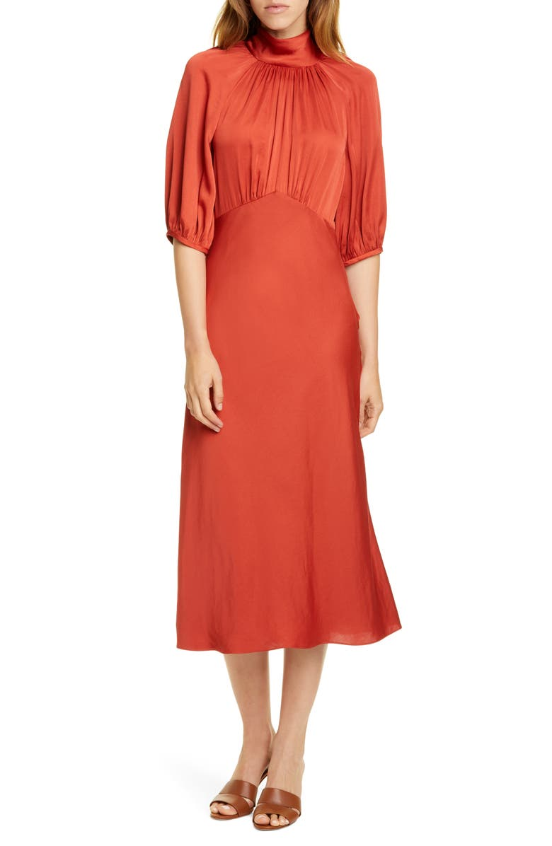REBECCA TAYLOR Tie Neck Satin Dress, Main, color, 600