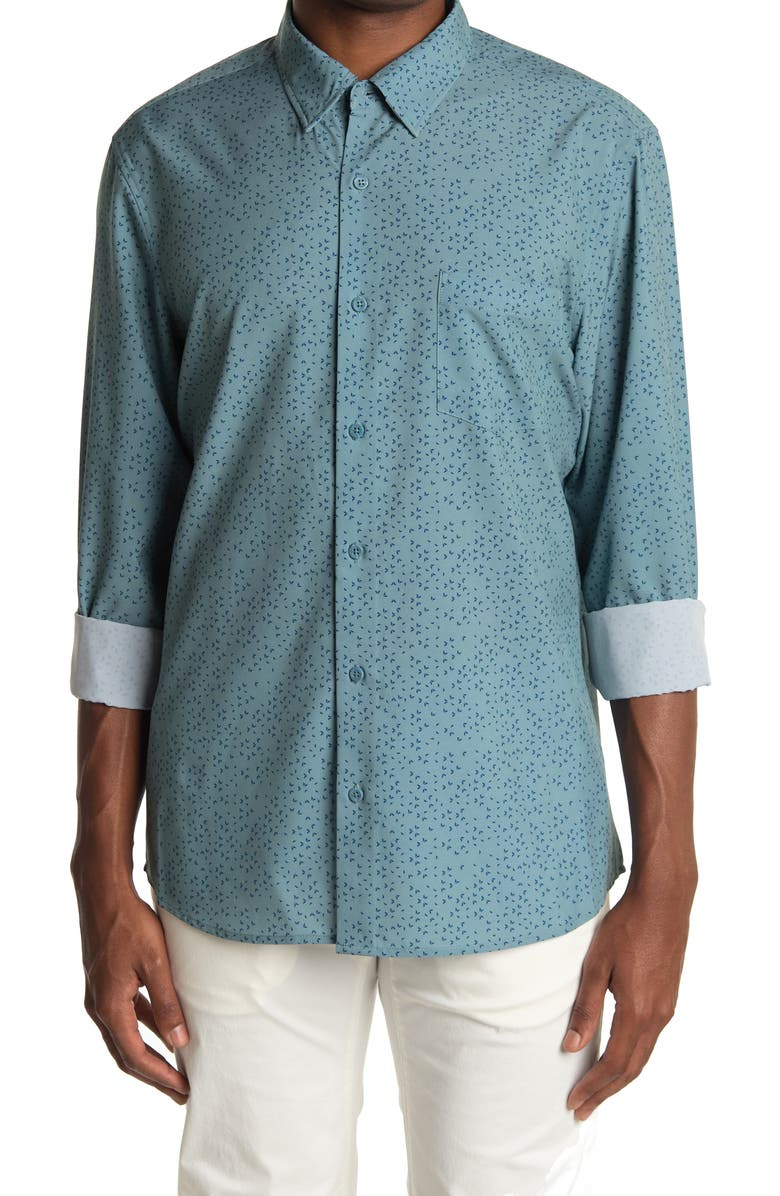 14TH AND UNION Long Sleeve Woven Performance Shirt, Main, color, BLUE ABSTRACT GEO PRT
