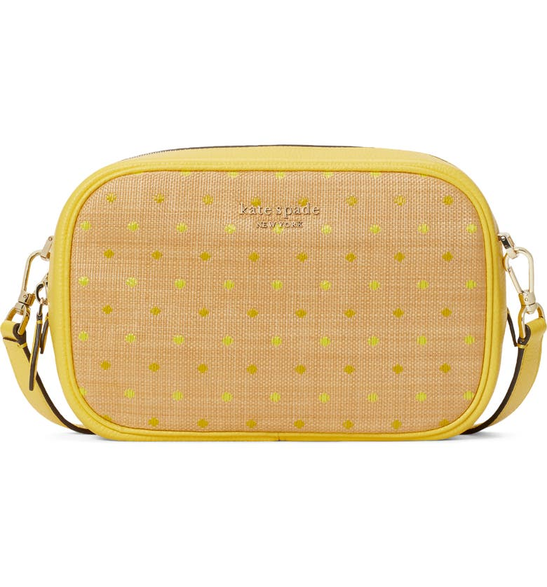 KATE SPADE NEW YORK astrid raffia dot camera bag, Main, color, YELLOW MULTI