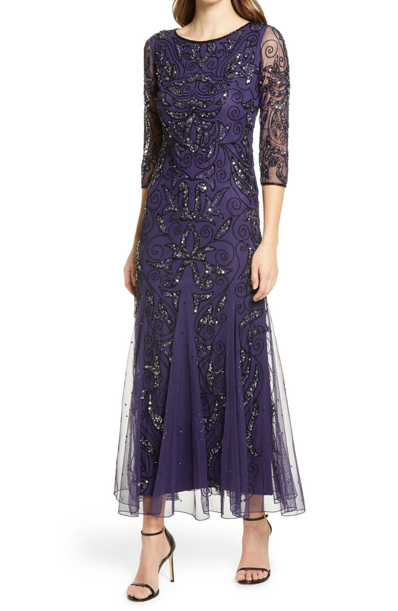 PISARRO NIGHTS Embellished Mesh Gown, Main, color, 413