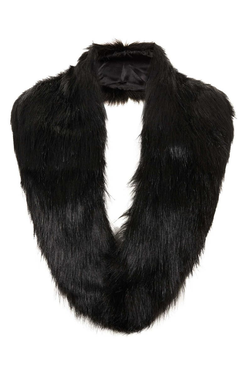 TOPSHOP Faux Fur Stole, Main, color, 001