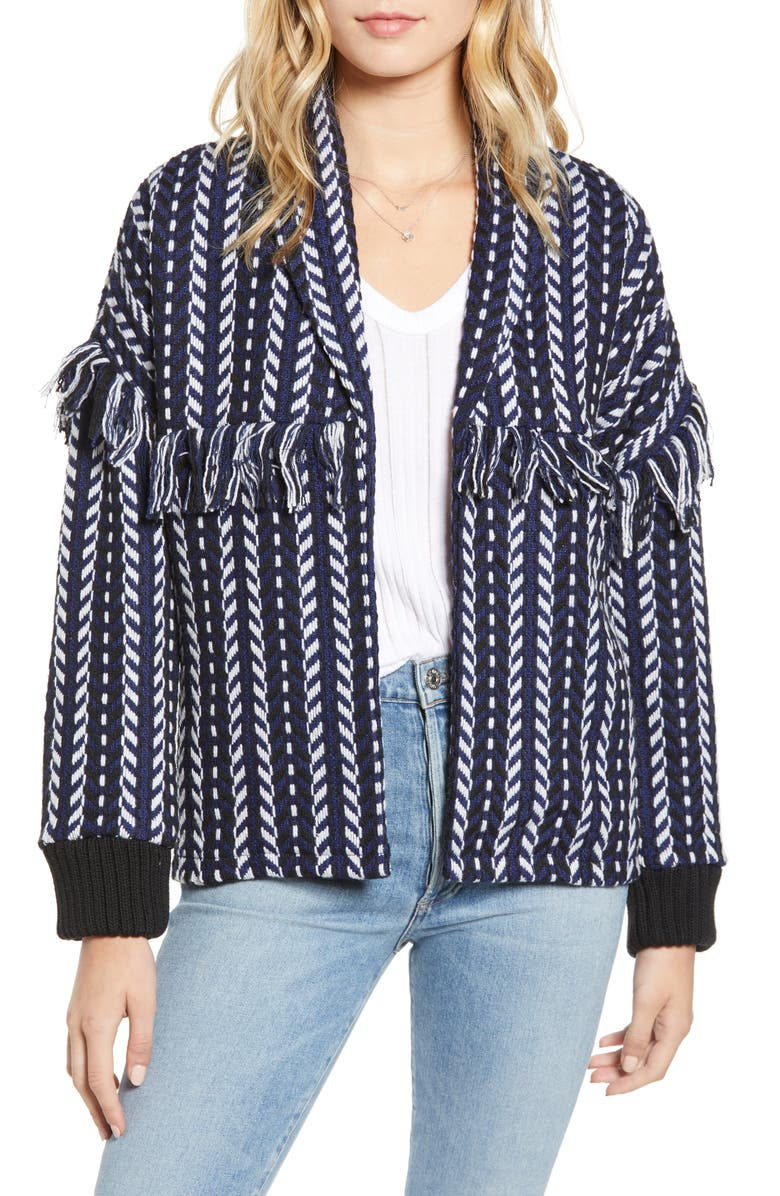 CUPCAKES AND CASHMERE Tweed Bomber Jacket, Main, color, 401