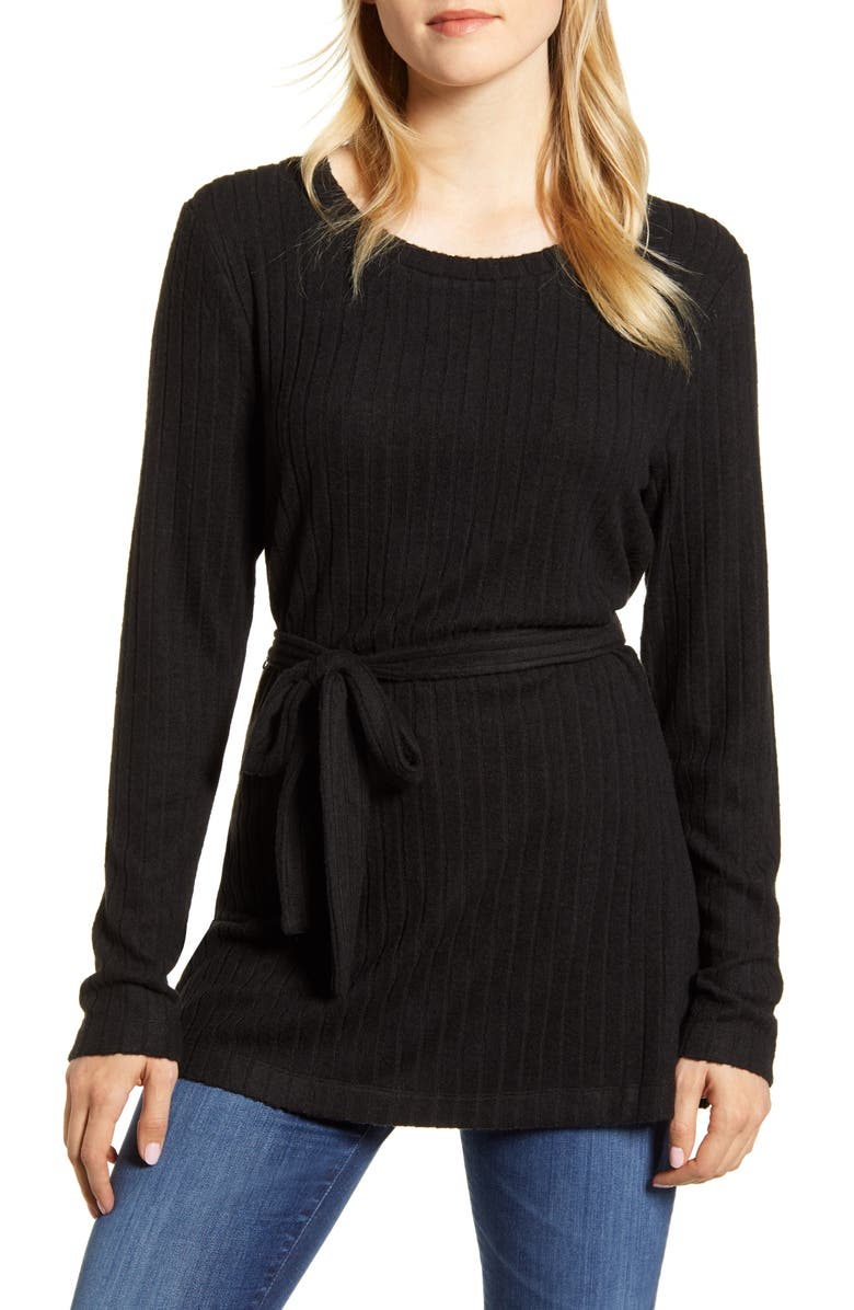 BOBEAU Ribbed Knit Cozy Belted Top, Main, color, 001