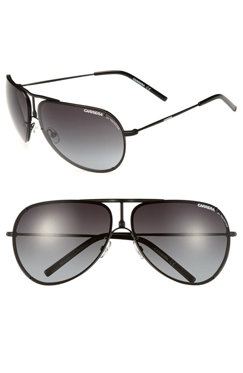 CARRERA EYEWEAR 67mm Aviator Sunglasses, Main, color, 001