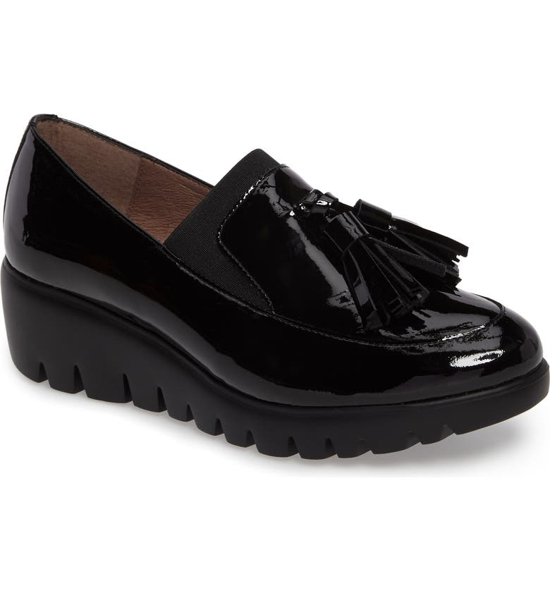 WONDERS Talla Loafer Wedge, Main, color, BLACK PATENT LEATHER