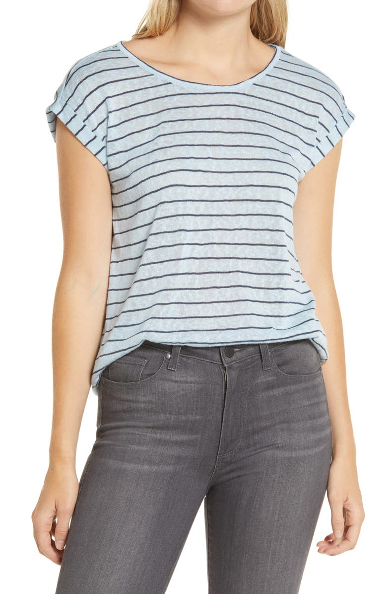 WIT & WISDOM Twist Back Knit Top, Main, color, NAVY/ ICY BLUE