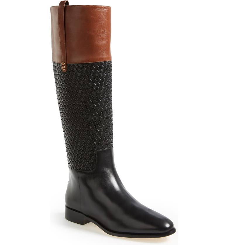 COLE HAAN 'Brennan' Woven Shaft Riding Boot, Main, color, BLACK/ HARVEST BROWN
