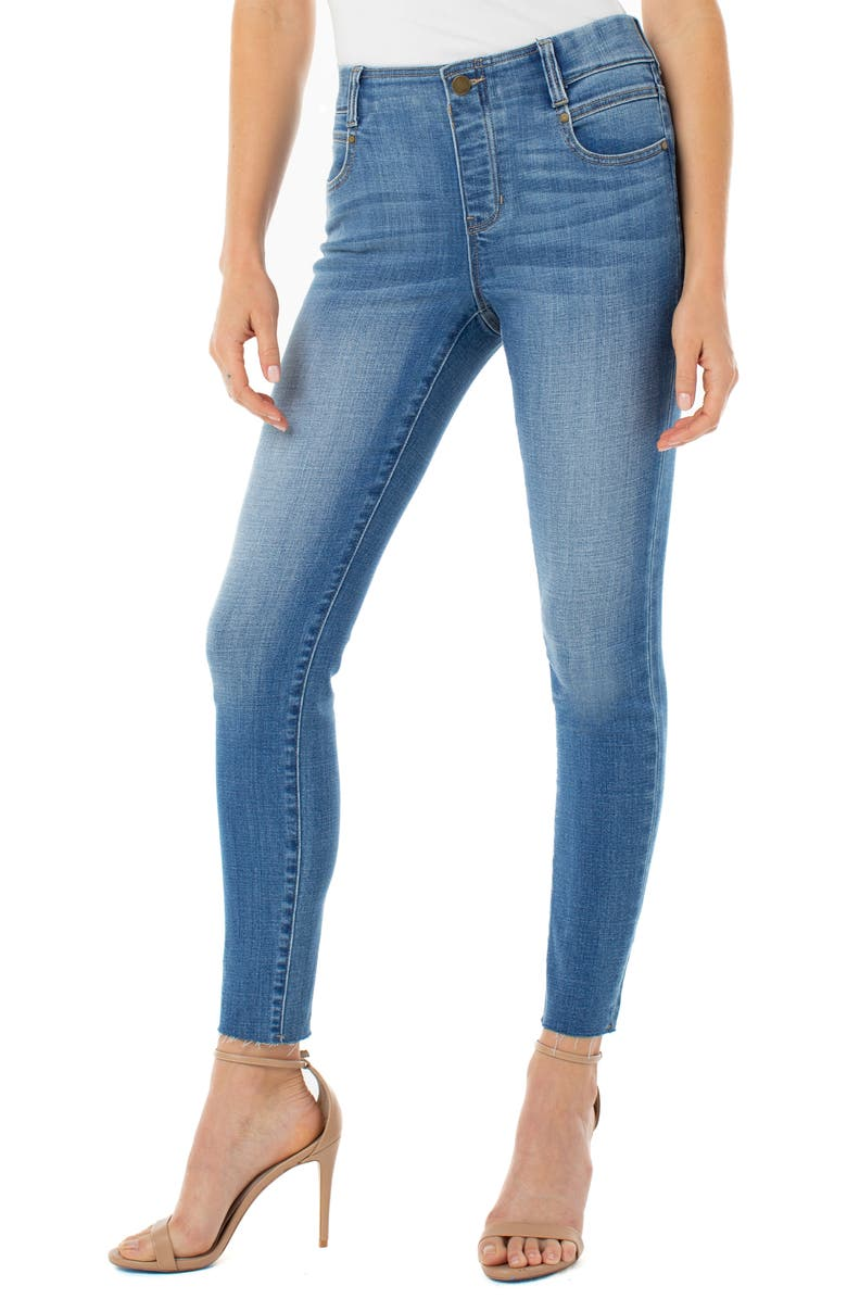 LIVERPOOL Gia Glider Pull-On Cut Hem Crop Skinny Jeans, Main, color, 002