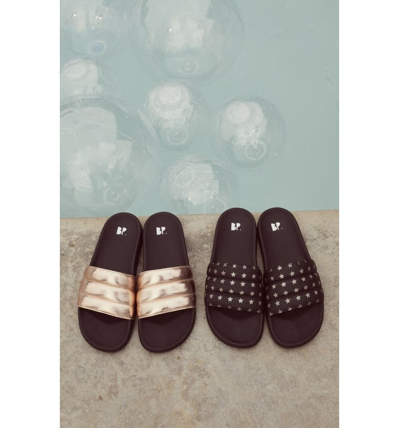 BP. Quilted Slide Sandal, Main, color, BLACK/ GOLD STARS FAUX LEATHER