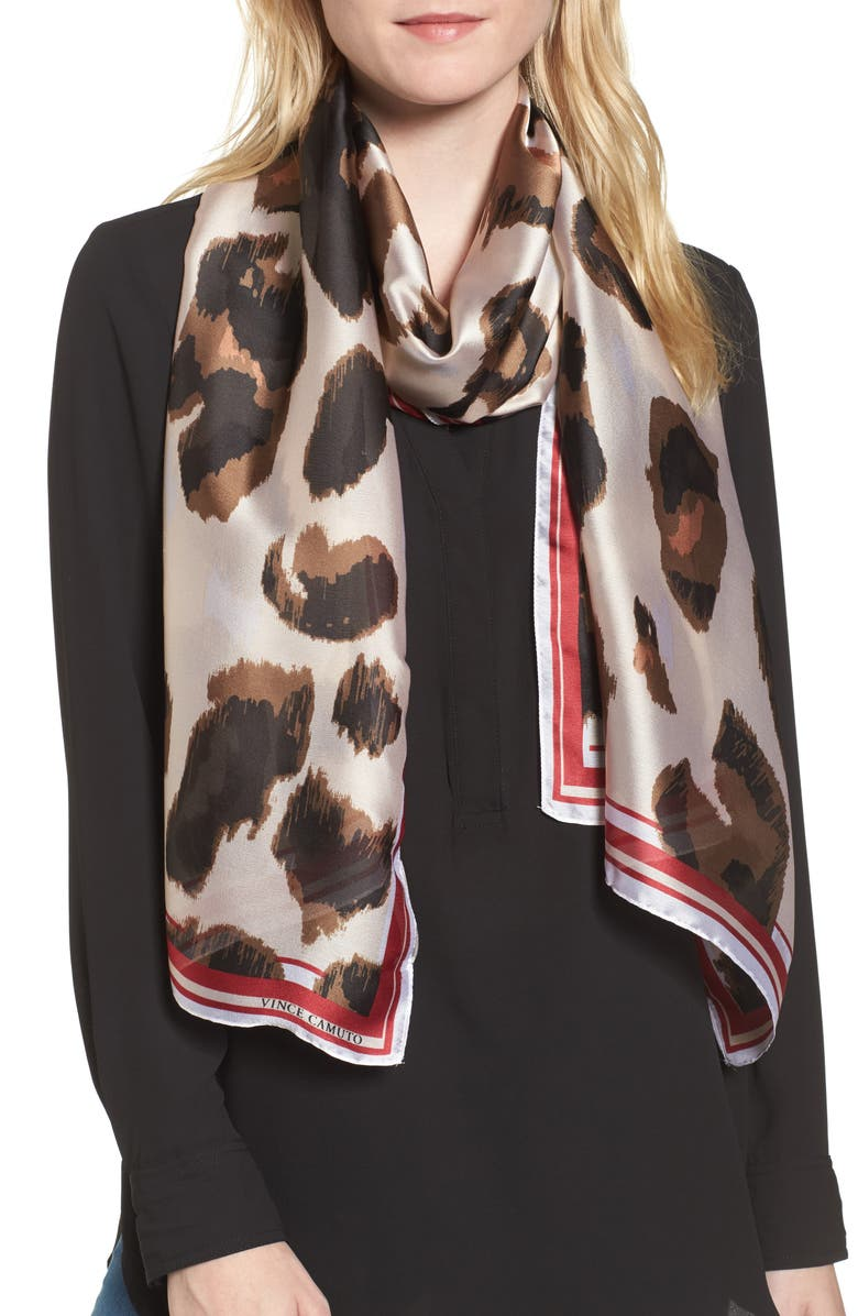 VINCE CAMUTO Leopard Print Scarf, Main, color, 603