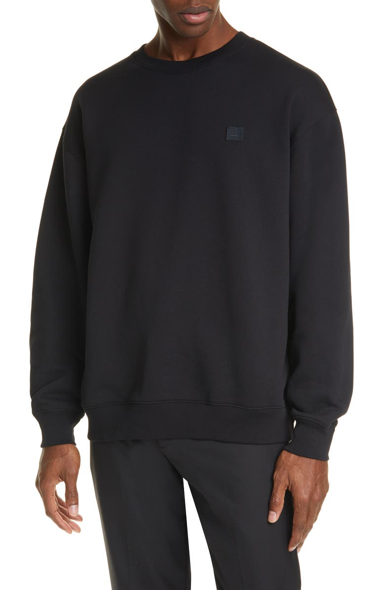 ACNE STUDIOS Forba Face Patch Crewneck Sweater, Main, color, 001