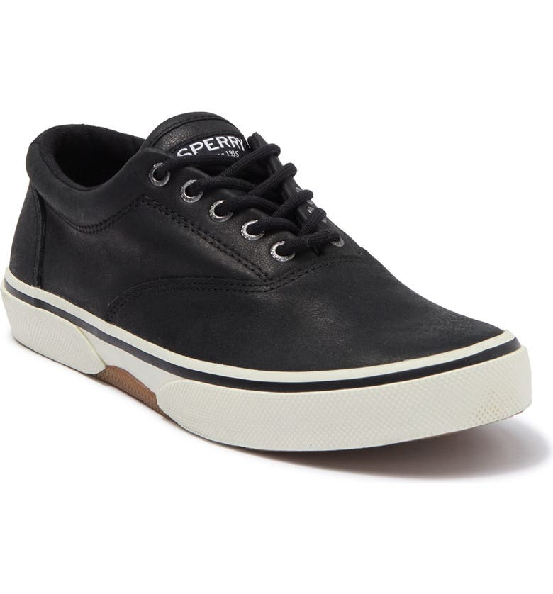 SPERRY Halyard CVO Leather Sneaker, Main, color, BLACK