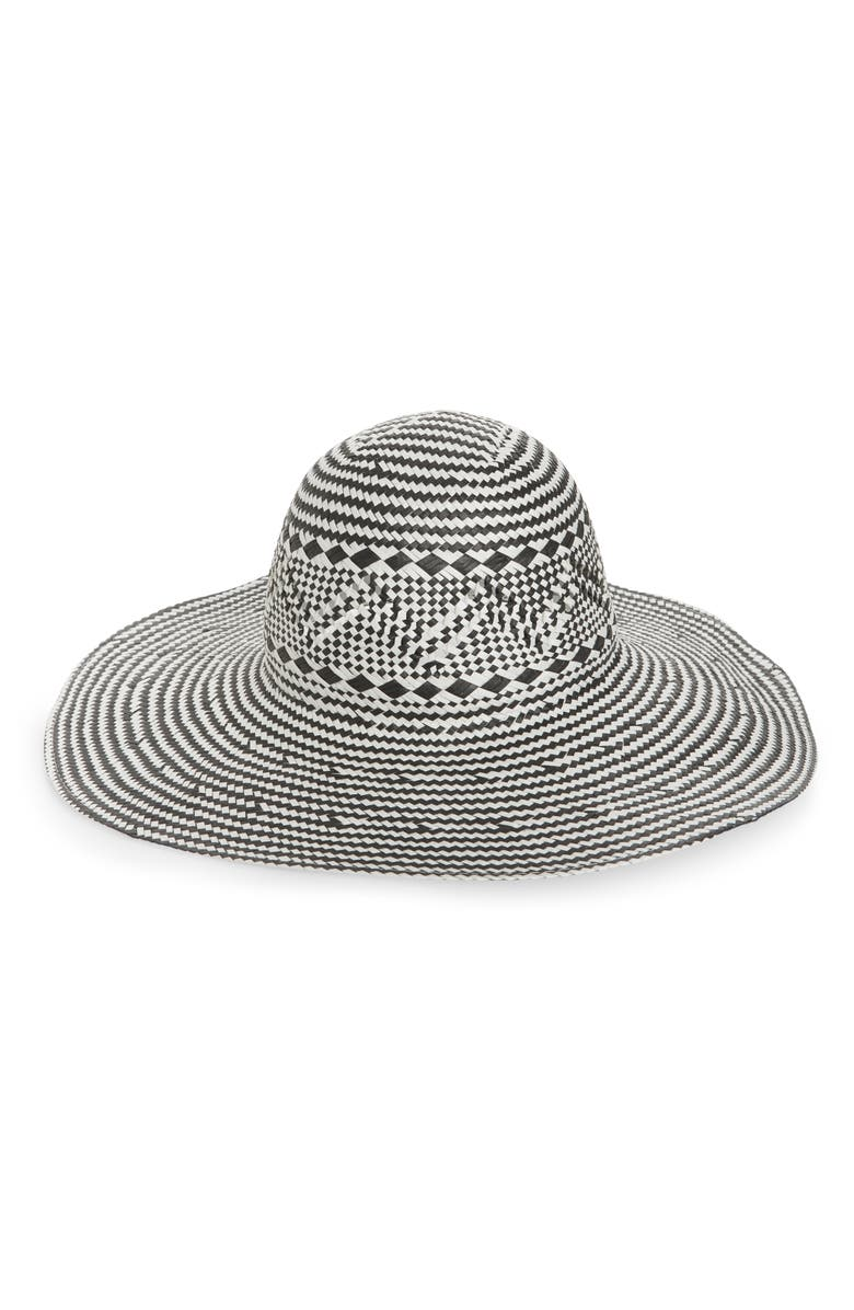 NORDSTROM Two-Tone Floppy Straw Hat, Main, color, BLACK COMBO