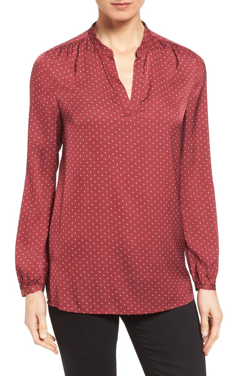 NORDSTROM COLLECTION Split Neck Print Stretch Silk Blouse, Main, color, RED CORDOVAN CIRCLE DOT