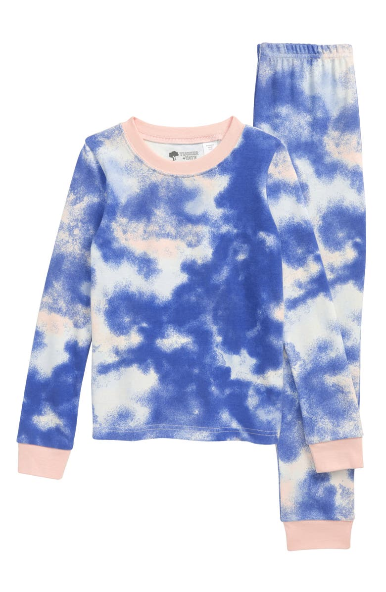 TUCKER + TATE Kids' Fitted Two-Piece Pajamas, Main, color, BLUE PASTEL- PINK TIE DYE