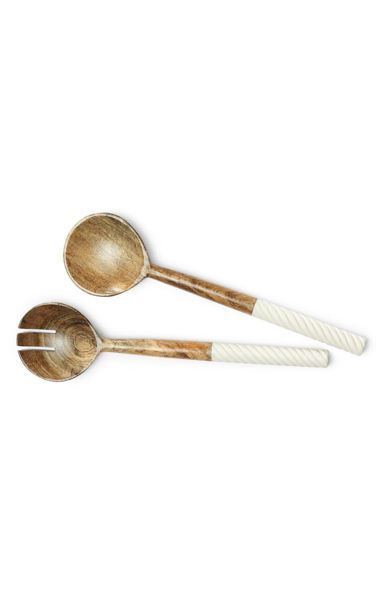 UNCOMMON JAMES BY KRISTIN CAVALLARI Set of 2 Spiral Salad Servers, Main, color, WHITE AND WOOD