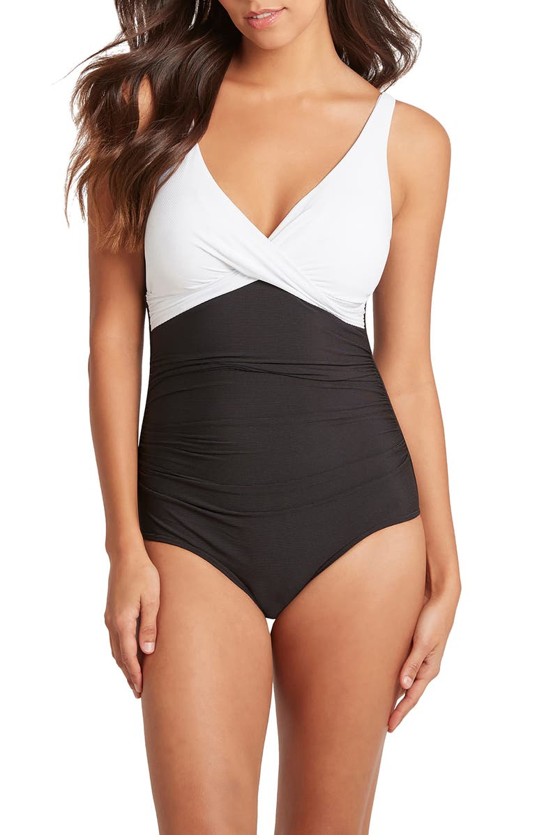 SEA LEVEL Cross Front One-Piece Swimsuit, Main, color, 001