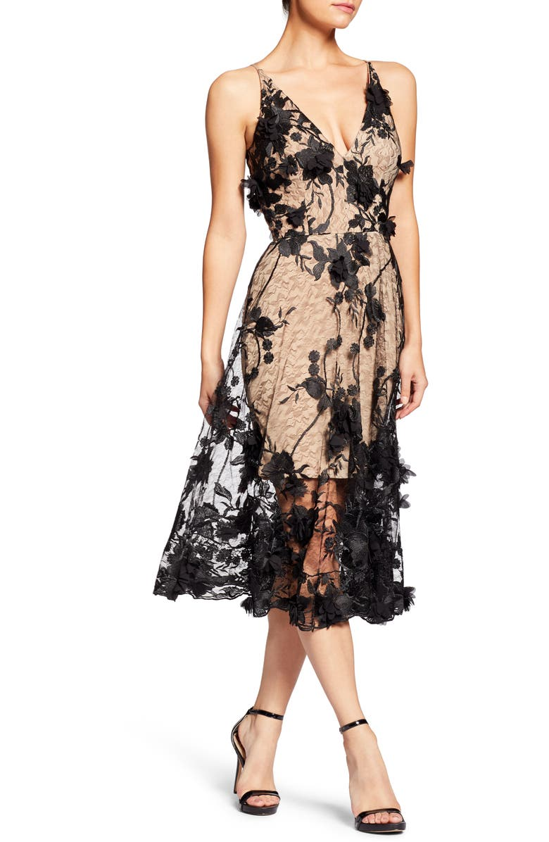 DRESS THE POPULATION Audrey Embroidered Fit & Flare Dress, Main, color, BLACK/ NUDE