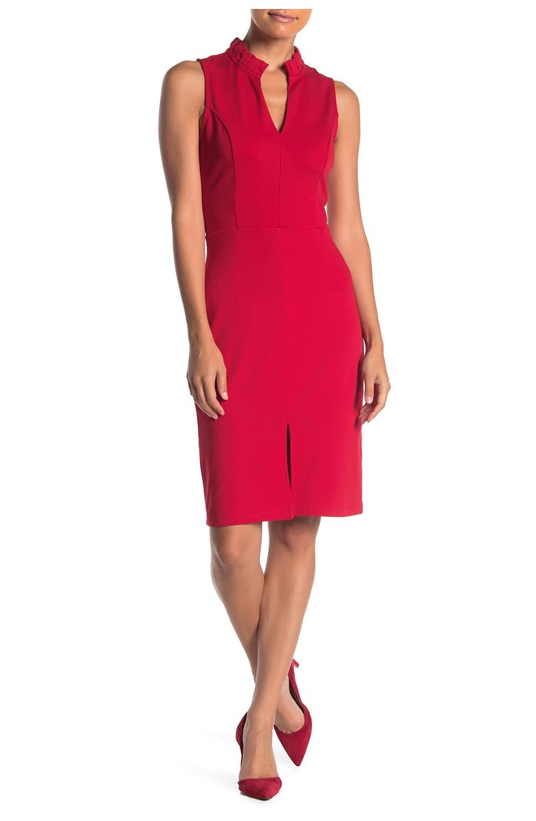 MAX AND ASH Split Neck Ruffle Trim Bodycon Dress, Main, color, RED LIPS