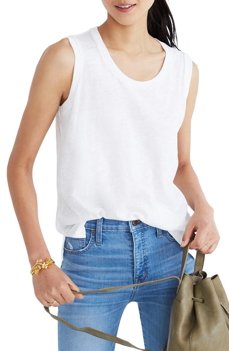 MADEWELL Whisper Cotton Crewneck Muscle Tank, Main, color, OPTIC WHITE