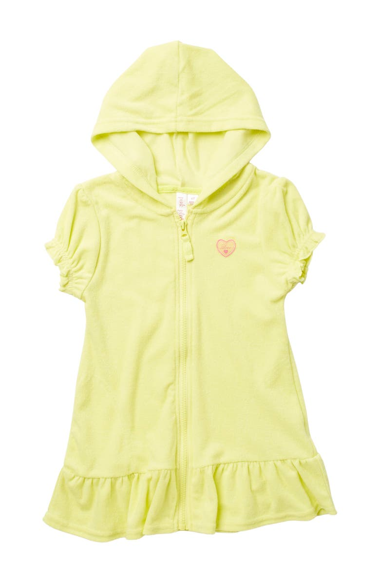 PINK PLATINUM Terry Hooded Zip Front Cover Up, Main, color, LEMON