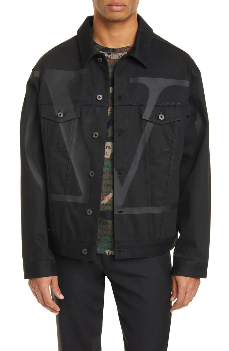 VALENTINO VLOGO Denim Jacket, Main, color, BLACK